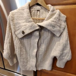 Free People Ivory Shrug Sweater w/Buttons Large